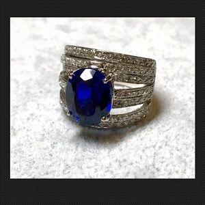 Kashmir Blue Sapphire 5.40CT. 925 Ring SZ 6.25
